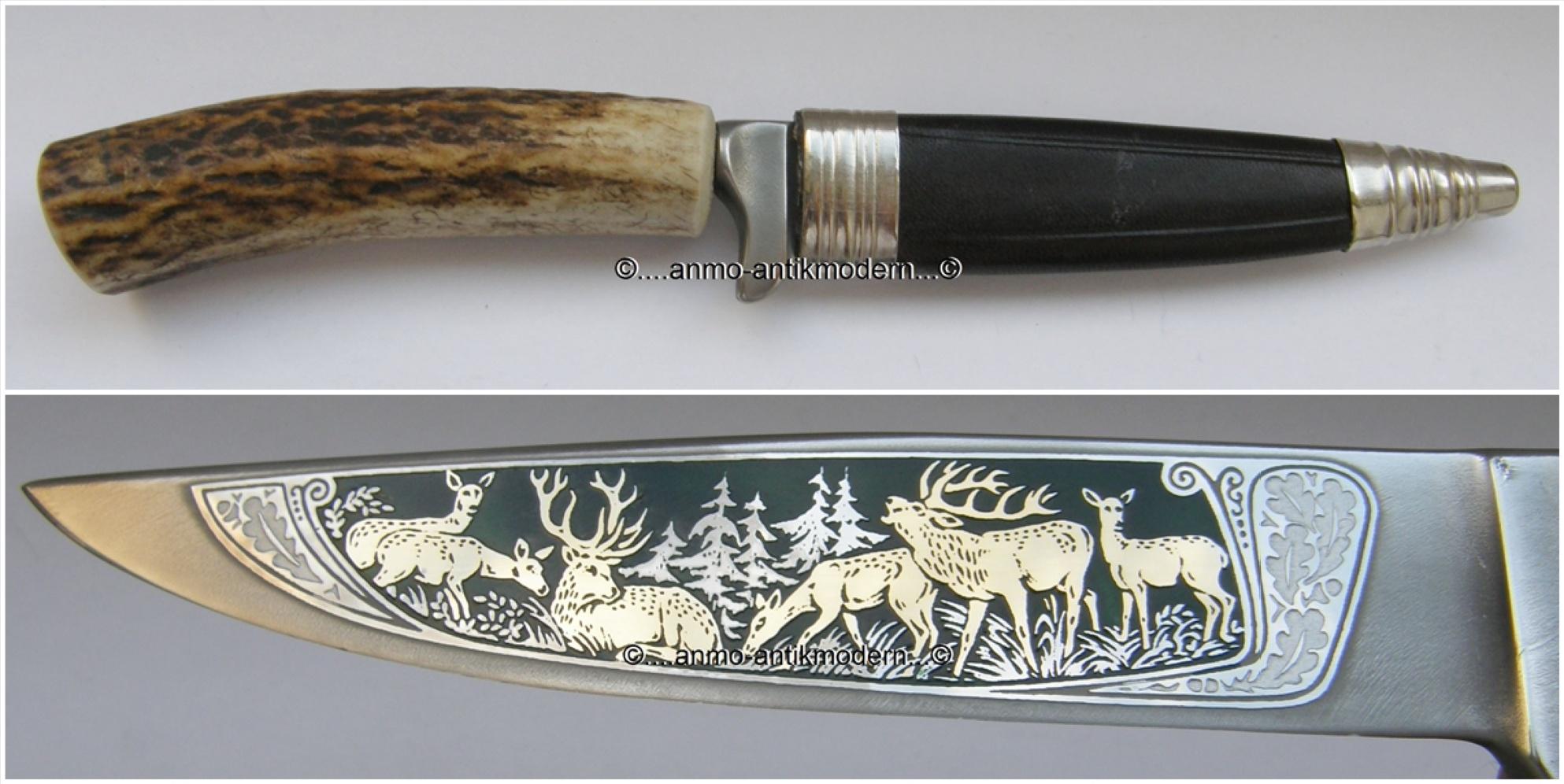 jagdmesser widder antik 440 hirsche horngriff lederscheide messer solingen jagd ebay. Black Bedroom Furniture Sets. Home Design Ideas