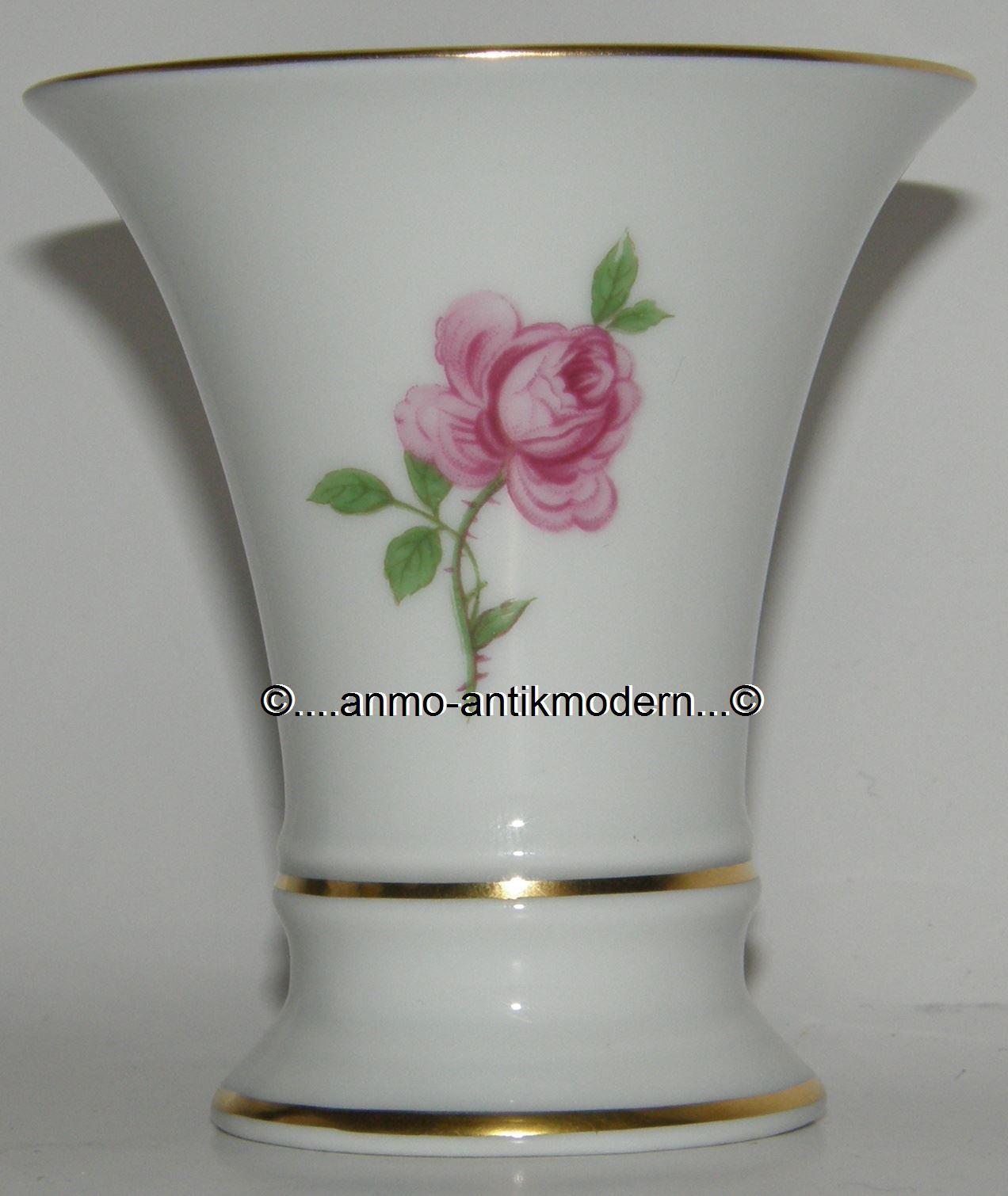 kleine vase f rstenberg rote rose alt f rstenberg trichtervase 7 7cm ebay. Black Bedroom Furniture Sets. Home Design Ideas